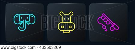Set Line Elephant, Fishing Rod And Hippo Or Hippopotamus. Black Square Button. Vector