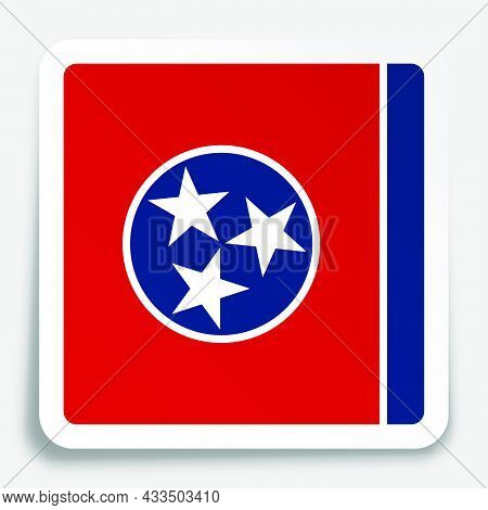 American State Of Tennessee Flag Icon On Paper Square Sticker With Shadow. Button For Mobile Applica