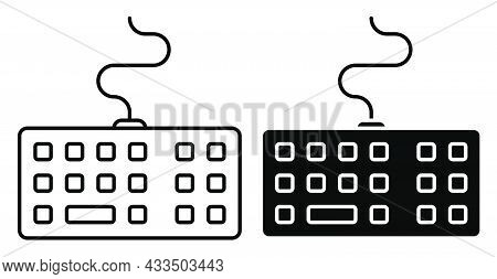 Linear Icon. Wireless Personal Computer Keyboard. Letters And Symbols On Keyboard Buttons. Simple Bl