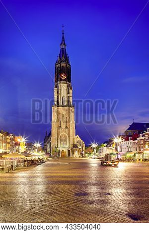 Protestant New Gothic Church (nieuwe Kirche) On Markt Square In Dutch Old City Delft During Blue Hou