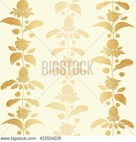 Elegant Gold Foil Wild Meadow Flower Seamless Vector Pattern. Arts And Crafts Style Sea Holly Flower