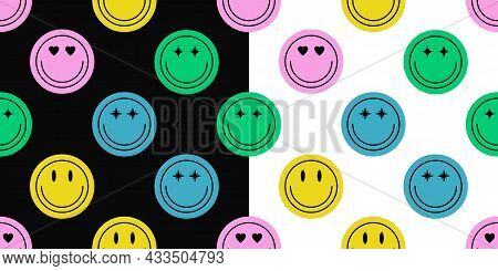 Seamless Pattern Of Different Colorful Smile Face Stickers. Smiling Happy Face Icon Seamless Backgro