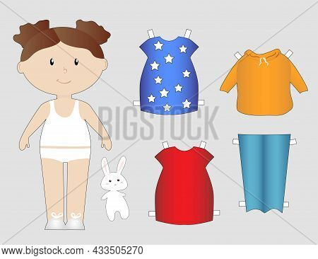 Paper Cutout Doll With Jeans And Dresses, Little Girl, Simple Flat Vector Illustration