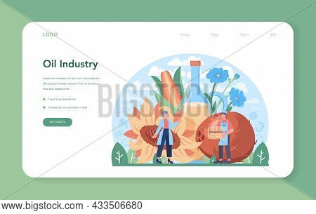 Oil Extraction Or Production Industry Web Banner Or Landing Page