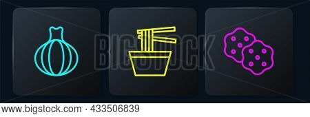 Set Line Onion, Cracker Biscuit And Asian Noodles In Bowl. Black Square Button. Vector