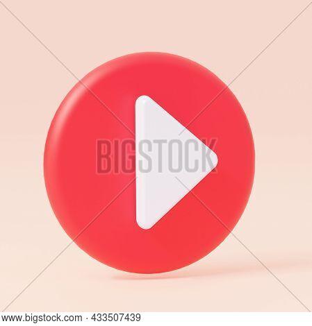 Button Round Symbol Video Player, Audio. 3d Rendering