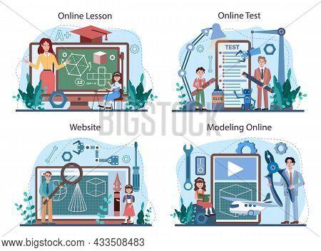 Crafting And Modeling School Course Online Service Or Platform Set.