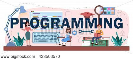 Programming Typographic Header. Students Learn Computer Science