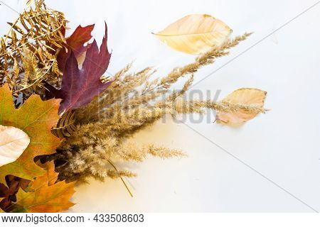 Autumn Bouquet From Leaves In A Gift To The Sentimental Person. Bouquet Of Autumn Leaves