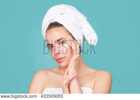 Close Up Face Of Beautiful Young Woman. Beautiful Woman Face Isolated On Studio. Natural Cosmetics A