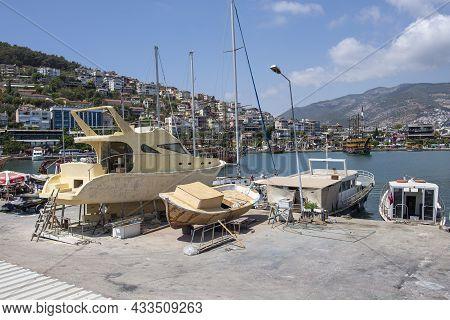 Alanya, Turkey - August 31, 2021: Small Fishing Boats In Alanya Port In Turkey