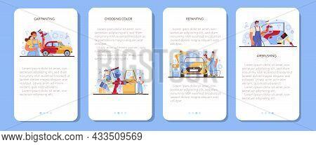 Car Service Mobile Application Banner Set. Mechanic In Uniform Paint