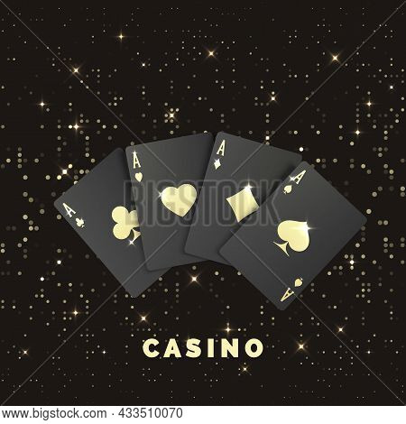 Four Black Poker Cards With Gold Label. Quads Or Four Of A Kind By Ace. Casino Banner Or Poster In R