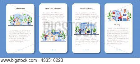 Real Estate Industry Mobile Application Banner Set. Realtor Assistance