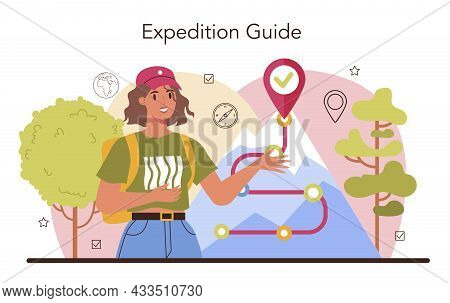 Expedition Guide. Tourists Hiking, Making Tent And Sitting At The Campfire