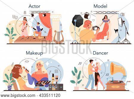 Artistic And Showbusiness Occupation Set. Actor, Dancer, Make Up Artist