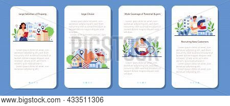 Real Estate Industry Mobile Application Banner Set. Idea Of Wide Selection