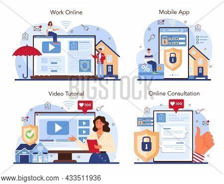 Real Estate Advantages Online Service Or Platform Set. Reliable Real Estate
