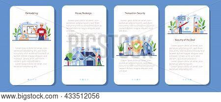 Real Estate Industry Mobile Application Banner Set. House Remodeling