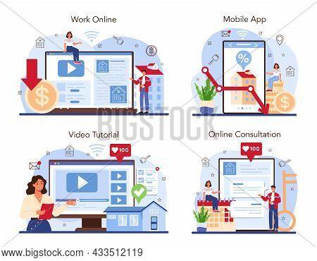 Real Estate Industry Online Service Or Platform Set. Low Comission
