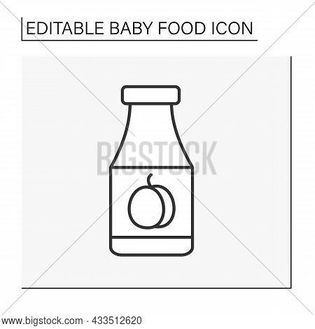 Drink Line Icon. Delicious Organic Plump Juice. Vitamin Drink. Children Nutrition. Baby Food Concept