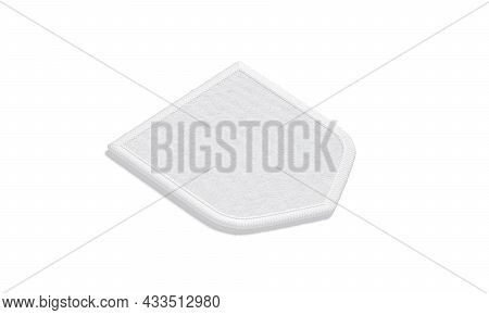 Blank White Shield Embroidered Patch Mockup Lying, Side View, 3d Rendering. Empty Fabric Shoulder St