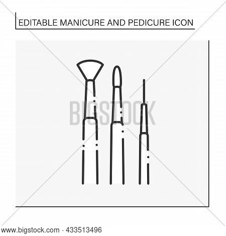 Nail Brushes Line Icon. Delicate Hand Instrument For Laying Nail Polish, Clean Nails From Dust. Mani