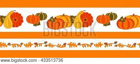Autumn Fall Season Farm Crop Seamless Vector Border Pattern. Pumpkin, Oak Leaf, Nut Cartoon Design E