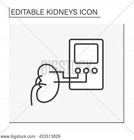 Dialysis Line Icon. Remove Waste Products And Excess Fluid From Blood. Diverting Blood To Machine To