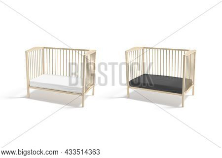 Blank Wood Cot With Black And White Crib Sheet Mockup, Half-turned View, 3d Rendering. Empty Mini Wo