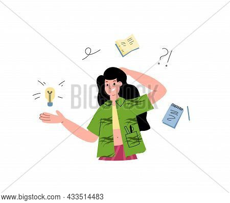 Woman With Logic Intellectual Thinking, Flat Vector Illustration Isolated.