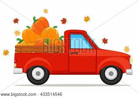 Pumpkins In A Red Pickup Truck And Autumn Leaves On A White Background