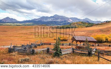 Picnic table in the ranch in Colorado San Juan mountains