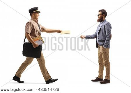 Full length profile shot of a postman delivering letter to a bearded man isolated on white background