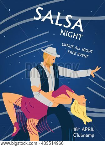 Poster Or Banner For Salsa Club With Dancing People, Flat Vector Illustration.