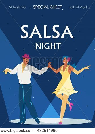 Poster Or Banner For Salsa Night In Dance Club, Flat Vector Illustration.