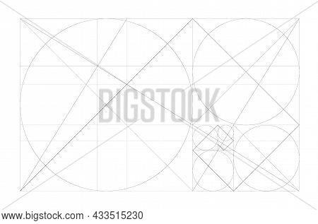 Golden Ratio. Minimalistic Style Design. Geometric Figures. Futuristic Design. Logo. Vector Icon.