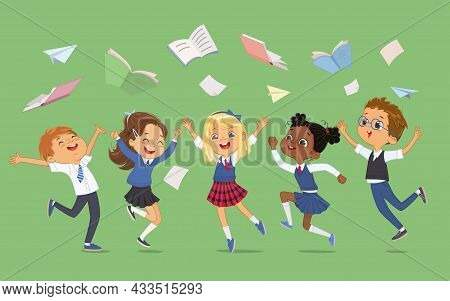 Group Diverse Elementary Classmates In School Uniform Jumping Surrounded By Flying Notebooks And Boo