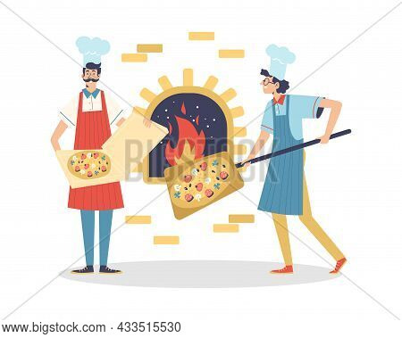 Pizzeria Restaurant Chefs Bake Pizza In Stove, Flat Vector Illustration Isolated.