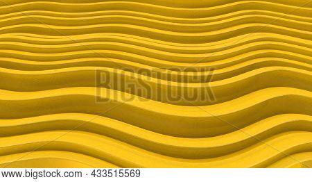 Striped Background. Golden Striped Texture. 3d Illustration