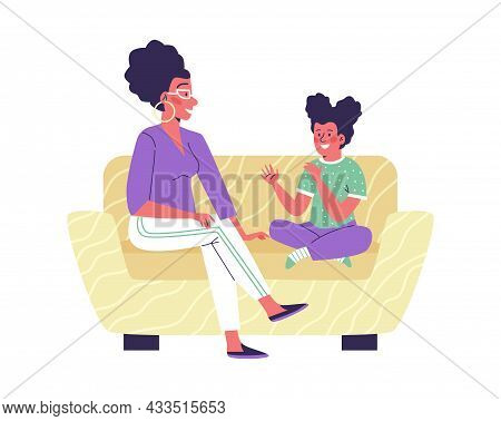 Mother And Child Or Family Counselor Talking, Flat Vector Illustration Isolated.