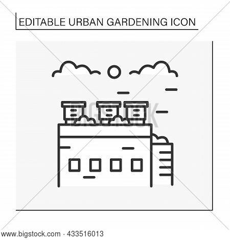 Beekeeping Line Icon. Modern Bee Farms On Skyscrapers Use Roof.ecological Bee Farm.urban Gardening C