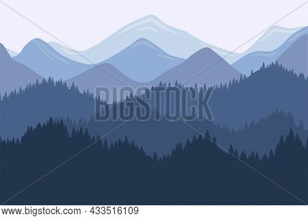 Mountain Range Morning Landscape With Fog And Forest. Sunrise And Sunset In Mountains Vector Horizon