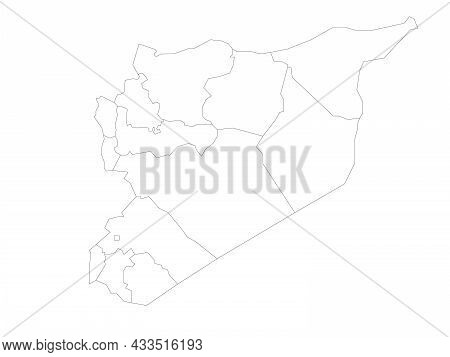 Political Map Of Syria. Administrative Divisions - Governorates. Simple Flat Blank Vector Map