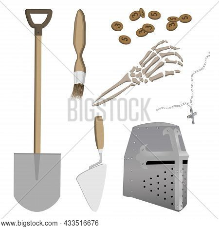 Set Of Antiquities From Medieval Archaeological Site Of Knight-crusader. Excavation Tools. Vector Il