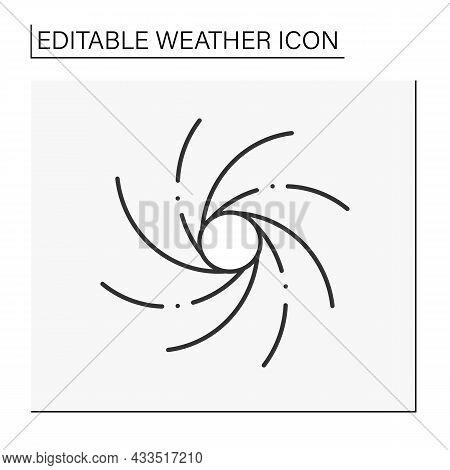 Hurricane Line Icon. Heavy Spiralled Wind. Meteorology. Typhoon, Windstorm. Tornado Natural Disaster