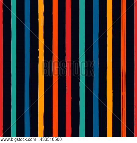 Brush Strokes Seamless Pattern. Freehand Vertical Stripes Print. Repeated Rough Edge Ink Lines Backg