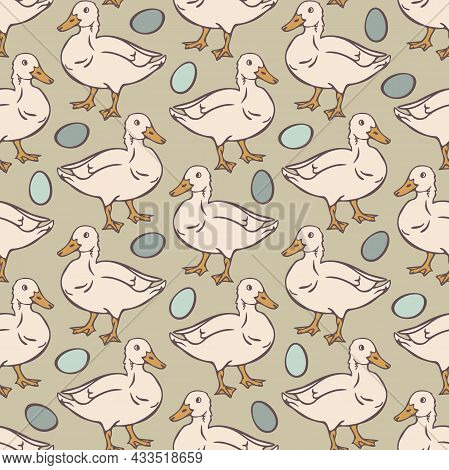 Vector Seamless Pattern With Domestic Duck And Eggs. White Ducks And Blue Eggs On Light Background.