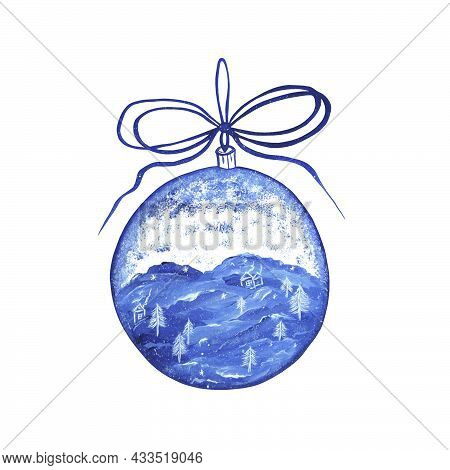 Christmas Glass Ball With Winter Landscape And Snowfall Inside. Isolate. Christmas Tree Toy With A B