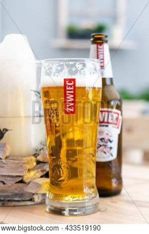 Miedzyzdroje, Poland -05.09.2021 - Beer From The Zywiec Company